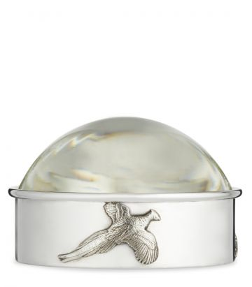 Round Silver Magnifying Glass - Pheasants