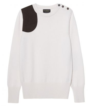 Ladies Button Crew Neck Shooting Sweater - Cream