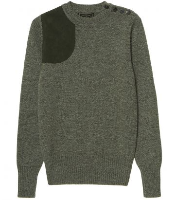 Ladies Button Crew Neck Shooting Sweater