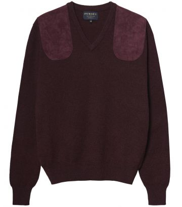 Ladies V Neck Shooting Sweater - Brown
