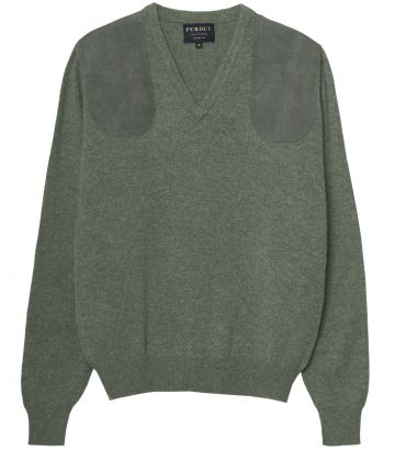 Ladies V Neck Shooting Sweater - Green