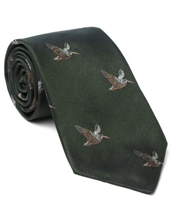 Flying Woodcock Silk Tie - Green