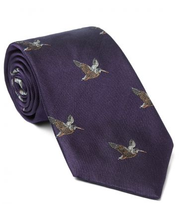 Flying Woodcock Silk Tie - Purple