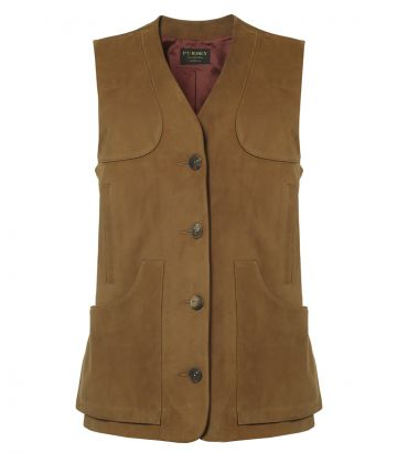 Ladies Suede Vest - Tan - front view