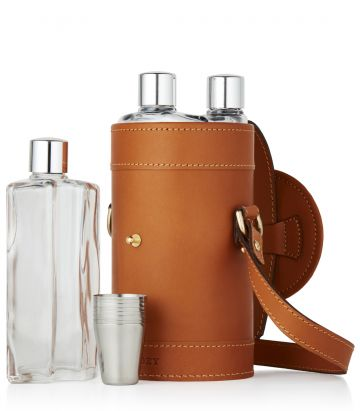 LEATHER CASED TRIPLE FLASK & POSITION FINDER SET - LONDON TAN