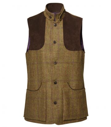 Mens Tweed High Collar Vest - Stuart
