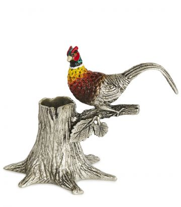 Enameled Pheasant Pen Holder