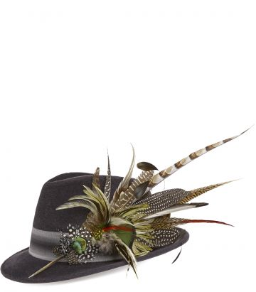 Philip Treacy Feather Trilby - Charcoal