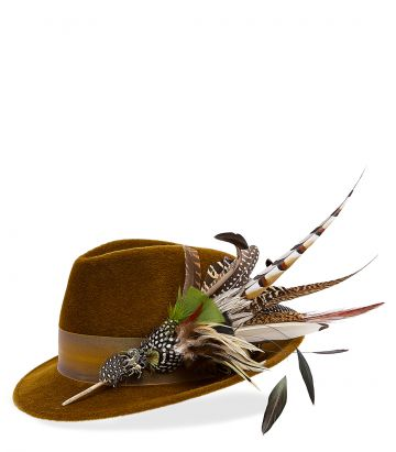 Philip Treacy Feather Trilby - Bronze