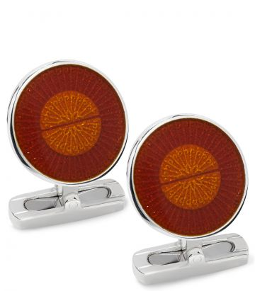 Enamel Screw Cufflinks - Orange