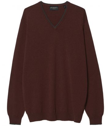 Mens Cashmere V Neck Sweater - Brick