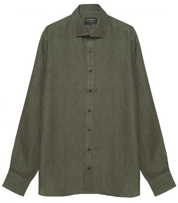 Mens Linen Shirt - Sage Green - Front view
