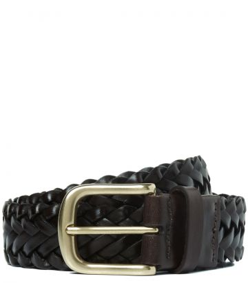 Mens Plaited Leather Belt - Dark Brown