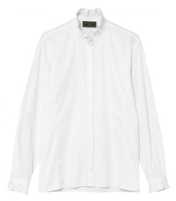 Ladies Pie Crust Collar Shirt - White
