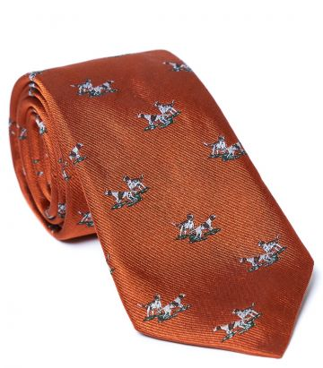 Hunting Dogs Tie - Burnt Orange