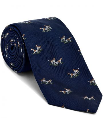 Hunting Dogs Tie - Navy