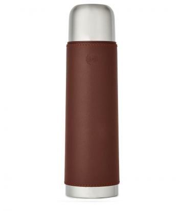 Leather Thermos Flask - Burgundy