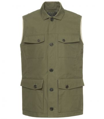 Mens Percival Safari Vest- Safari Green