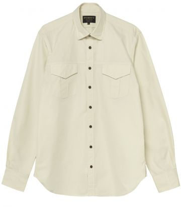 Mens Safari Shirt - Sand - front view