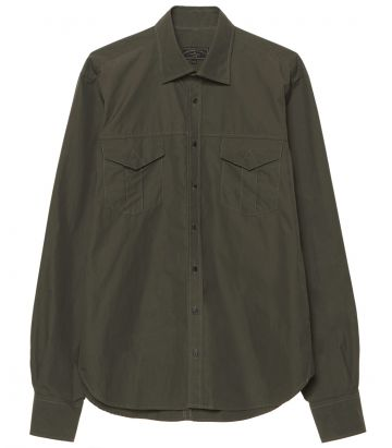 Mens Safari Shirt - Olive Green - front view
