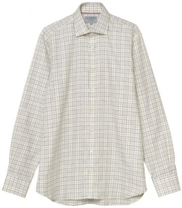 Mens Cashmerello Shirt - Ecru - Front View