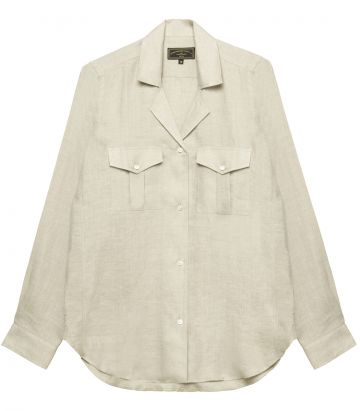 Ladies Linen Safari Shirt - Beige
