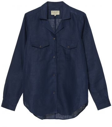 Ladies Linen Safari Shirt - Navy