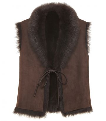 Ladies Toscana Gilet - Brown - Front view