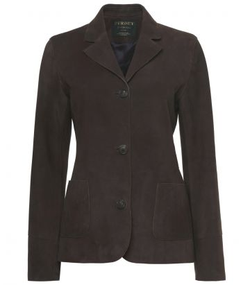 Ladies Adeline Deerskin Jacket - Dark Brown - Front view