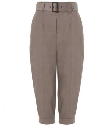 Ladies High Waisted Cotton Breeks - Desert - front view