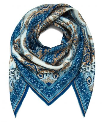 Purdey Mirrored Scroll Print Silk Scarf