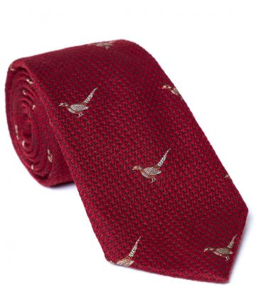 Standing Pheasant Tie - Red