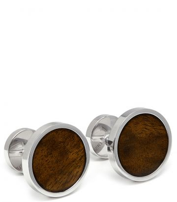 Walnut Silver Cufflinks