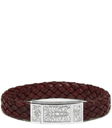 Woven Leather Bracelet - Audley Red