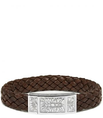 Woven Leather Bracelet - Dark Brown