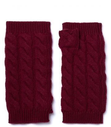 Cable Knit Cashmere Gloves - Audley Red