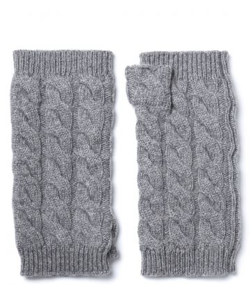 Cable Knit Cashmere Gloves - Grey