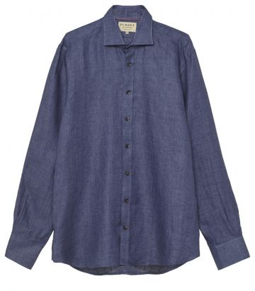 Mens Linen Twill Shirt - Indigo Blue