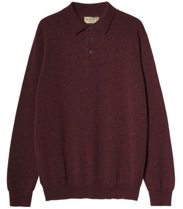 Mens Midweight Cashmere Polo - Glenvale Red