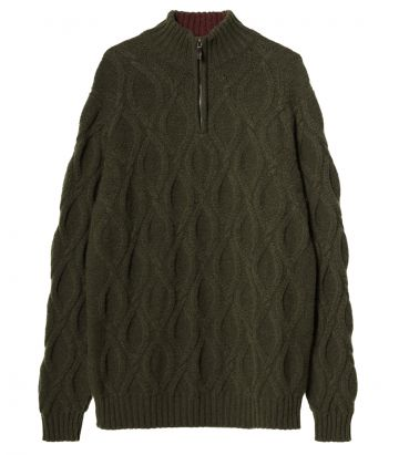 Mens Linton Cashmere Zip Neck