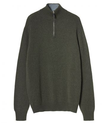 Mens Kelso Cashmere Zip Neck - Loden