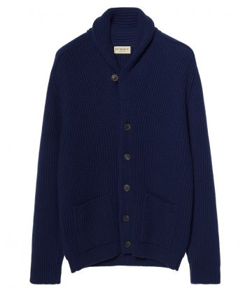 Mens Shawl Collar Cardigan - British Blue