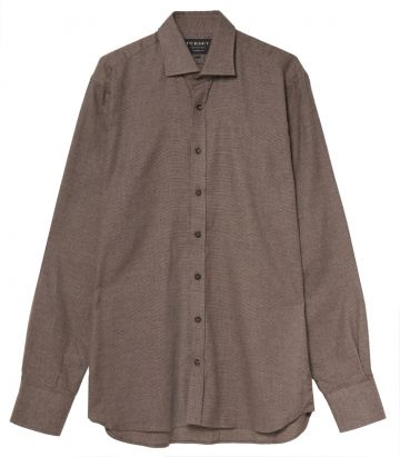 Mens Mini Check Shirt - Chestnut