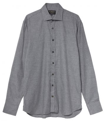 Mens Mini Check Shirt - Charcoal Grey