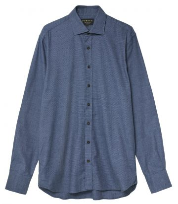 Mens Mini Check Shirt - Gibraltar Blue