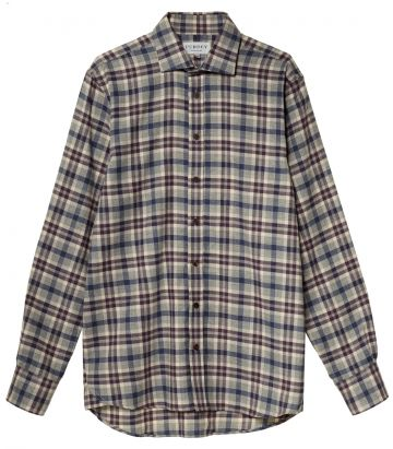 Mens Wool Blend Plaid Shirt - Aubergine