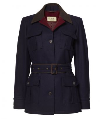 LADIES BELTED LODEN WOOL JACKET