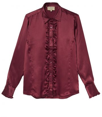 LADIES SILK RUFFLED SHIRT