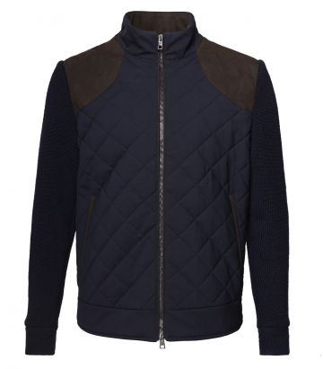 Mens Quilted Knit Jacket - Navy