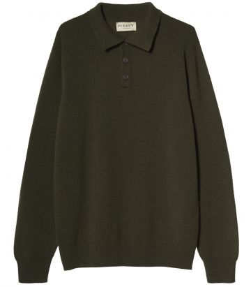Mens Heavyweight Cashmere Polo - Green